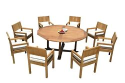 Dsvr A-grade Teak 9pc Dining Set 72 Round Table 8 Arm Chairs Outdoor Patio