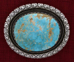 Natural Royston Turquoise Belt Buckle By Navajo Artist Calvin Martinez