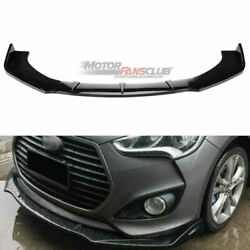 Glossy Black Front Bumper Lip Cover Molding Trim For Hyundai Veloster 2013-2017