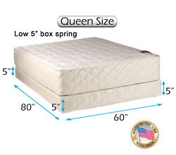 Grandeur Deluxe Queen Mattress And Low 5 Box Spring Set With Bed Frame Included