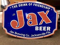 JAX BEER SINGLE SIDED PORCELAIN SIGN !!! Vary Rare !!! Near Mint Condition!!!