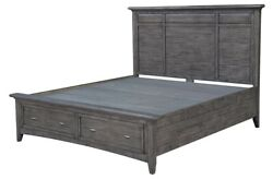 87 Flavio King Bed With Storage Hand Crafted Solid Hardwood Rustic Blue