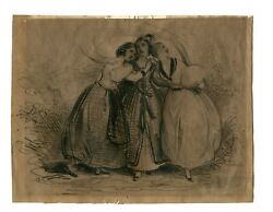 Three Beauties Achille Jacques-jean-marie Devéria, Signed Drawing C.1830