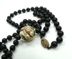 Beautiful Vintage Ethnic Old CHINESE Carved Bone & Onyx Bead 32