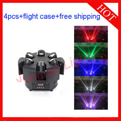 612w Rgbw 4 In 1 Led Beam Moving Head Wash Light Flight Case 4pcs Free Shipping