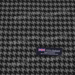 Men#x27;s 100% CASHMERE Scarf Houndstooth Black Gray MADE IN SCOTLAND