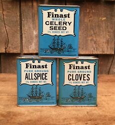 Vintage 3 Piece Lot Of Finast All Spice Celery Seed Clove 1-3/4 Oz Tin Cans