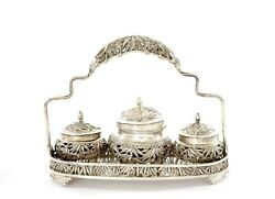 1930's Chinese Solid Silver Bamboo And Bird Salt And Pepper Spice Tray Basket Set