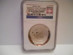 2014-p Silver 1 Baseball Coin Ngc Proof 70 Ultra Cameo Rare Opening Day Label