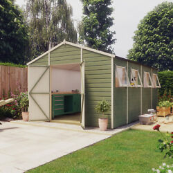 14x10 Pressure Treated Hobbyist Apex Windowed Double Door Garden Shed Tall Shed