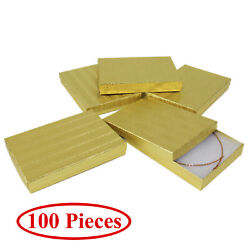 Cotton Filled Gift Box Fancy Gold Foil Jewelry Boxes Cardboard Display 100 Pcs