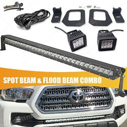 Fit 16-up Toyota Tacoma 24w Fog Light And 30and039and039 Led Bar Hidden Bumper Upgrade Kits