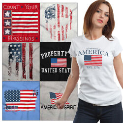 American Tees T Shirts For Mens 4th of July Tees Souvenir Gift Womens Americana