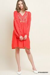 Size Xl Umgee Strawberry Or Off White Embroidered Dress/tunic Bhcs