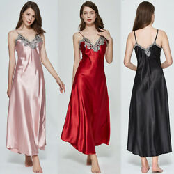 Ladies Womens Satin Long Nightdress Silk Lace Lingerie Nightgown Sleepw