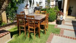 Dinning Table Solid Wood With 6 Matching Hard Wood Chairs 54 X 54 X 36