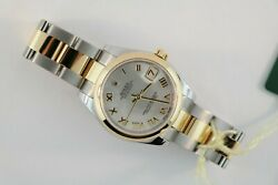 Midsize Rolex Datejust 178243 Two-Tone White Mother of Pearl Dial Oyster Band