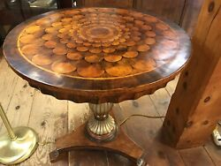 Neoclassical Foyer Hall Parlor Inlay Wood Round Table Decorative Arts Corso