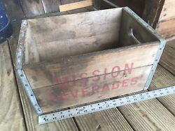 Vintage Mission Beverage Wood Soda Crate Box Ford City Pa 1964