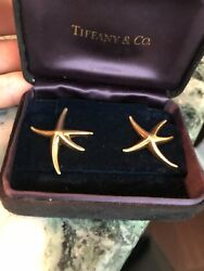 And Co-vintage Starfish Earrings-elsa Peretti-18 Karat Gold-mint Condition