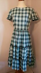 Vintage 1950s Blue Plaid Dress Swing skirt Rockabilly Pinup girl size small