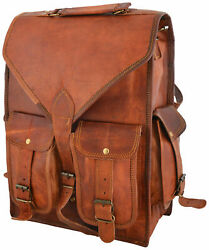 Real Genuine Leather Backpack men Fashion retro Style Vintage New School Bag $45.60