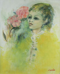 Girl With Flower By Jordi Bonas Signed Oil On Canvas 20x24 W/ Coa