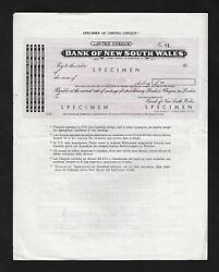 Australia , Bank Of New South Wales Limited Cheques June 1963 Specimen