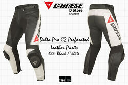 New - Dainese Delta Pro C2 Perforated Leather Pants Black White Size Eu 56 Us 46