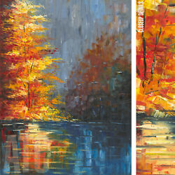 36wx48h Autumn Tree Reflections Stretched Oil Painting Reproduction On Canvas