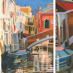 36wx48h Venice Canal - Italy Grande Stretched Oil Painting Reproduction Canvas