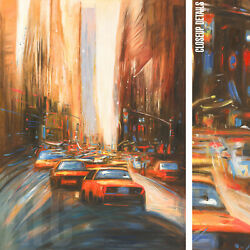 36wx48h New York Manhattan Commute -stretched Oil Painting Reproduction Canvas