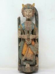 18th C Antique Wooden Hand Carved Painted Queen Rare Putali Figure Wall Statue