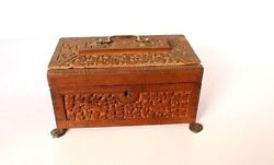 Antique Wooden Hand Carved Perfumeand Jewelry Box Decorative Collectible Art India