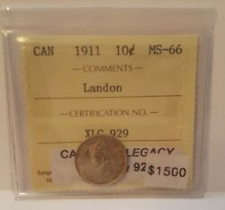 1911 Canada 10 Cents Iccs Ms-66 The Landon Collection