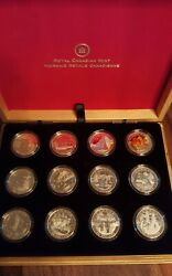 2013 O Canada 12 Coin Set Collection In Wood Box 10 Pure Silver Proofs