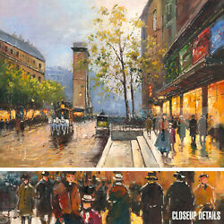 48wx36h Porte St Denis Antoine Blanchard-style Oil Painting Reproduction Canva