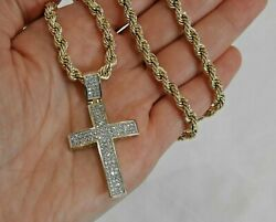 Large Diamond Cross on 14K Yellow Gold Rope Chain Statement Necklace