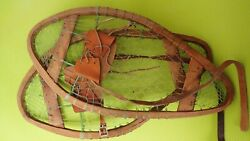 Vintage Wooden Bear Paw Snowshoes Faber Snowshoes 24x13 Leather Bindings