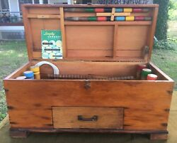 Vintage Croquet Set Metal Wire Frames Solid Wood Mallets South Bend Toy Man. Co.