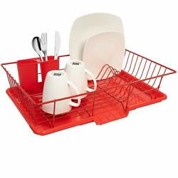 Red Dish Drying Rack Drainer Dishes Utensils Holder Drain Board Plastic W Tray