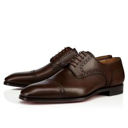 Christian Louboutin Mens Cousin Charles Flat Brown Calf Leather Oxford Loafer 41
