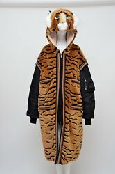 Dolce And Gabbana Faux Fur Tiger Hooded Long Jacket Coat New 42