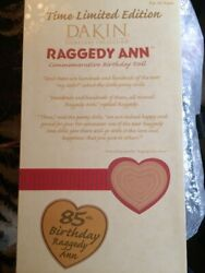 Raggedy Anne Dankin Commemorative Birthday Doll 85 Years With Certificate