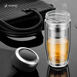 Double Layer Glass Water Bottle Transparent Bottles Stainless Steel Tea Infuser