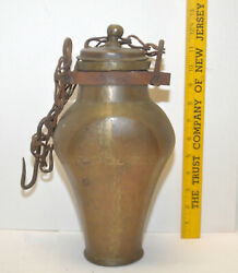 Antique 19th Century Handwrought Brass Canteen Water Jar W/ Lid And Chain