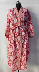 Gypsy Nightgown Intimates Dressing Cotton Kimono Sleepwear Block Printed Tunic 4