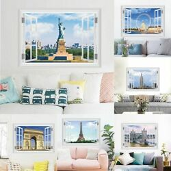 3d Vivid City Window Wall Stickers For Living Room Bedroom Decorations Home Pvc