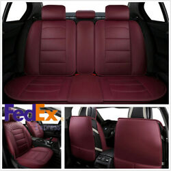 Wine red Luxury PU Leather Car Full Seat Cover Protector Pad for Benz Audi Kia