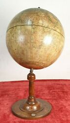 Terracque Globe With Compass. Mang. Stuck And Wood. Germany. Circa 1930.